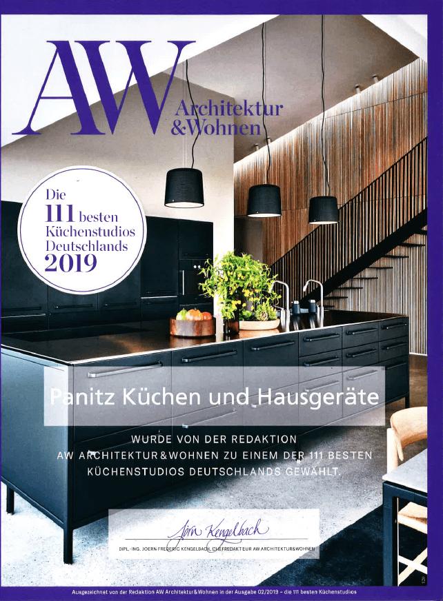 Urkunde von A&W: Das Küchenstudio Panitz in Nürnberg zählt auch 2019 wieder zu den 111 besten Küchenstudios